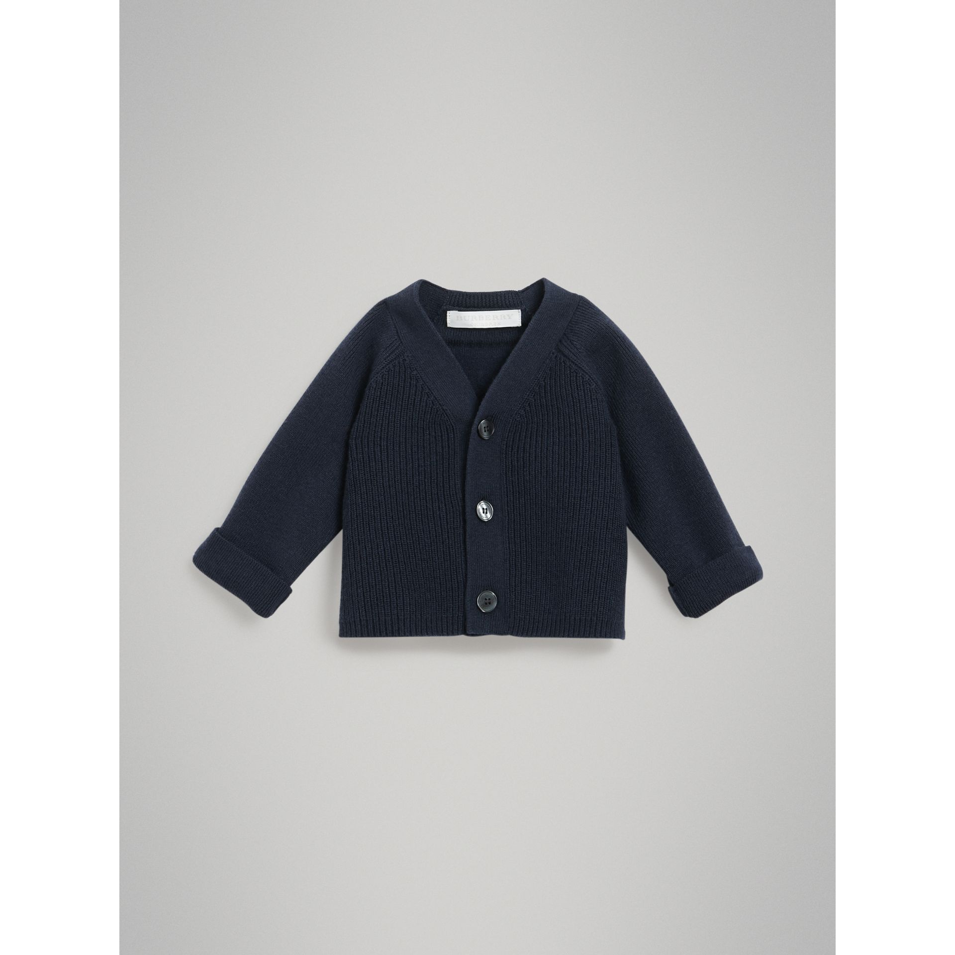 Cashmere Cotton Knit Cardigan in Navy - Children | Burberry - gallery image 0