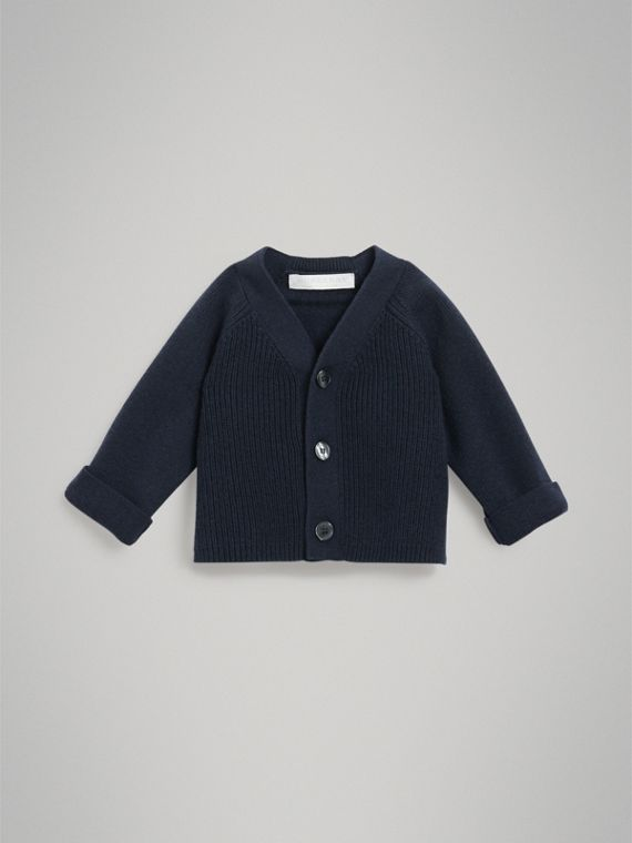 Cashmere Cotton Knit Cardigan in Navy