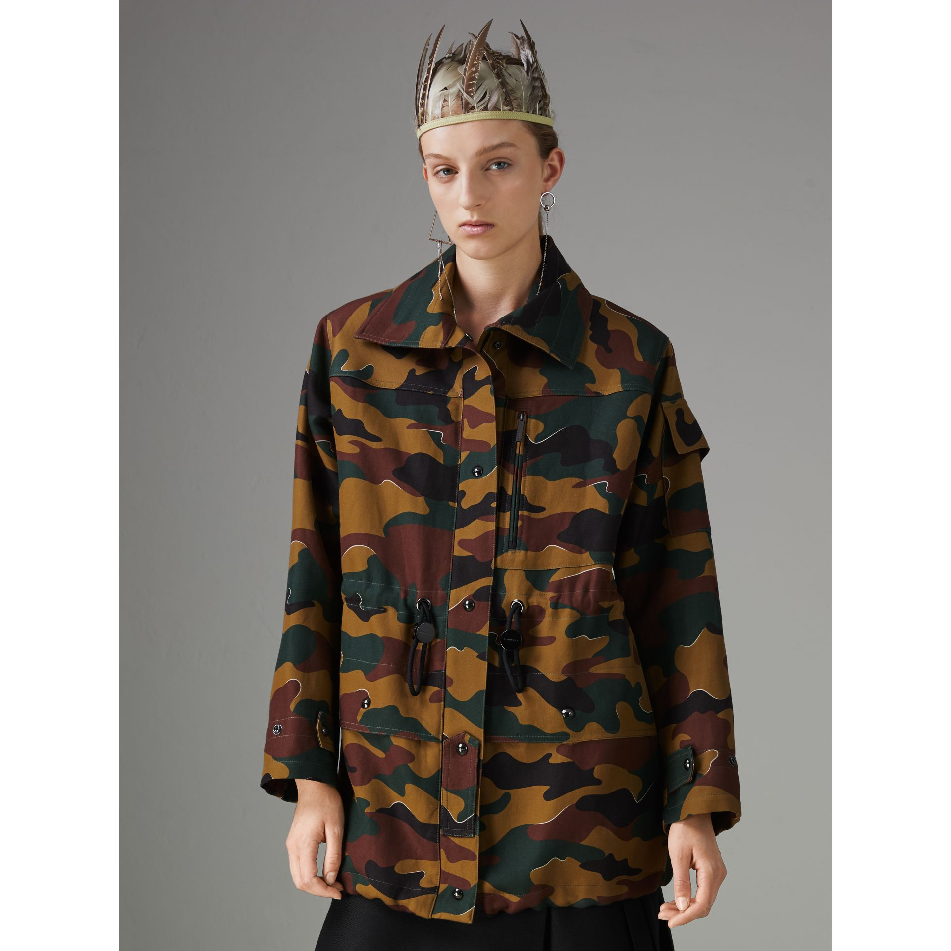 Boyfriend Fit Camouflage Print Jacket in Ochre Green - Women | Burberry Singapore - gallery image 4