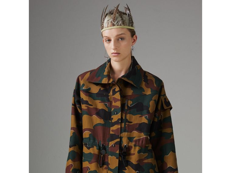 Boyfriend Fit Camouflage Print Jacket in Ochre Green - Women | Burberry Australia - cell image 4