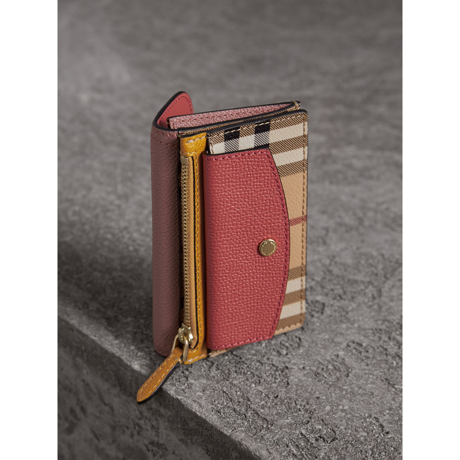 Leather and Haymarket Check Mini Wallet in Dusty Pink / Multicolour - Women | Burberry Singapore - gallery image 3