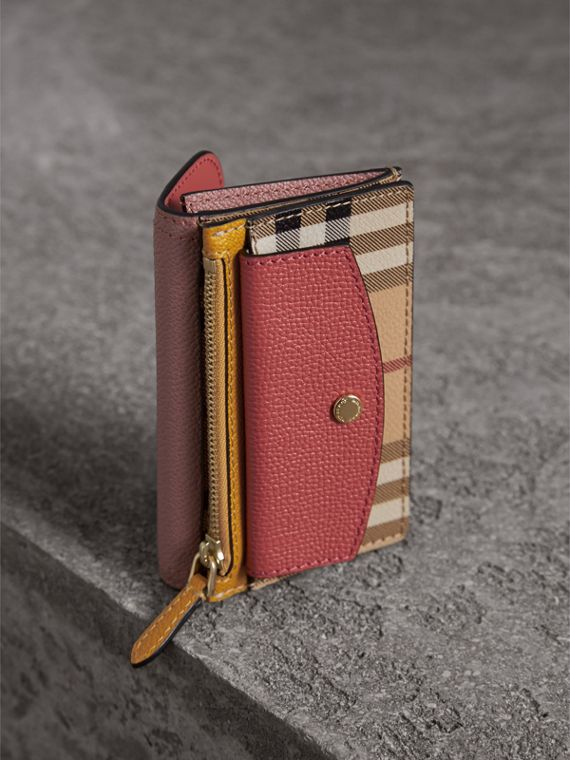 Leather and Haymarket Check Mini Wallet in Dusty Pink / Multicolour - Women | Burberry - cell image 2
