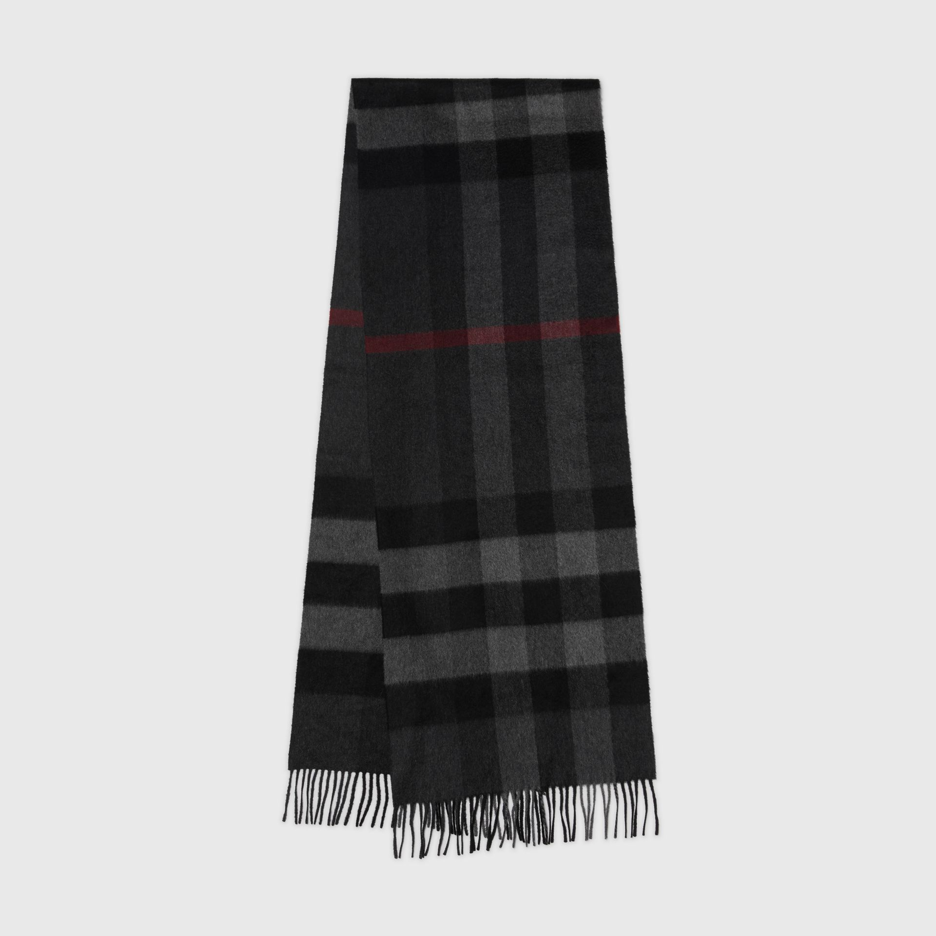 The Large Classic Cashmere Scarf in Check in Charcoal  acf48a8669