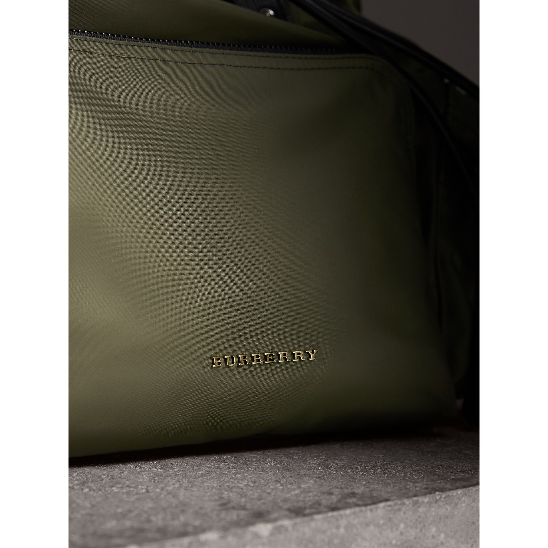 The Large Rucksack in Technical Nylon and Leather in Canvas Green - Men | Burberry - gallery image 7