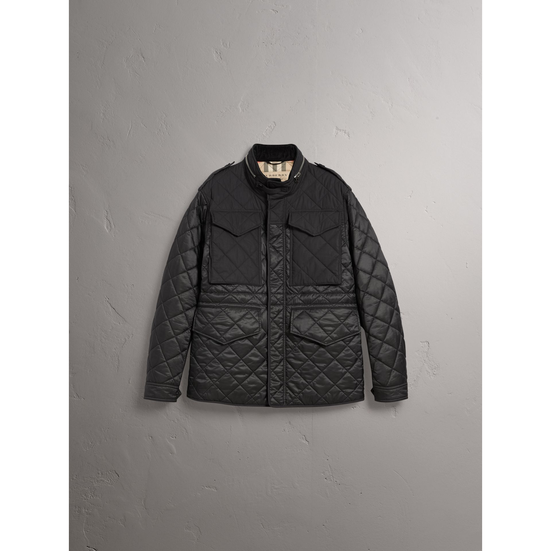 Packaway Hood Diamond Quilted Field Jacket in Black - Men | Burberry - gallery image 4