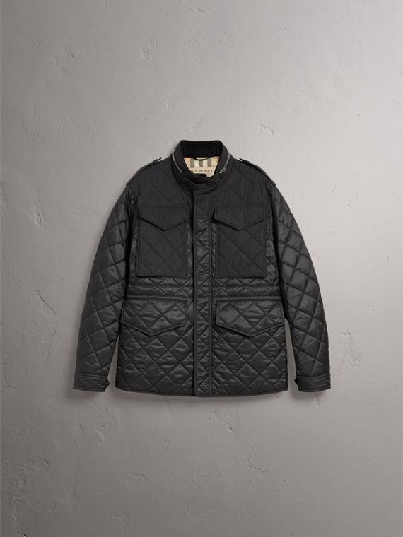 Packaway Hood Diamond Quilted Field Jacket in Black - Men | Burberry United Kingdom - cell image 3