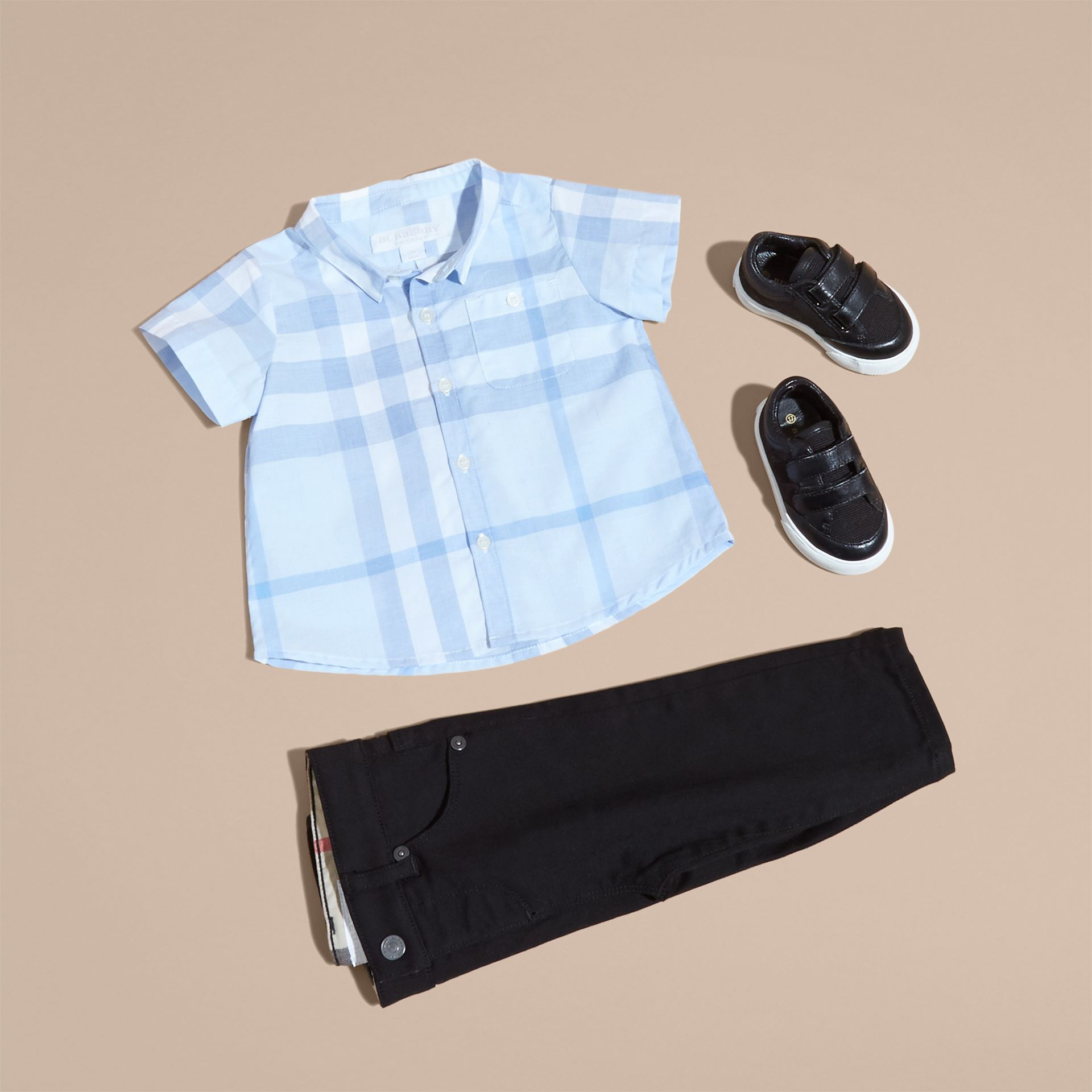 Ice blue Short-sleeve Check Cotton Shirt - gallery image 5