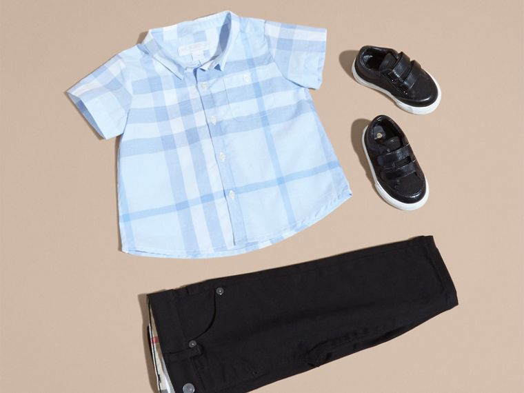 Ice blue Short-sleeve Check Cotton Shirt - cell image 4