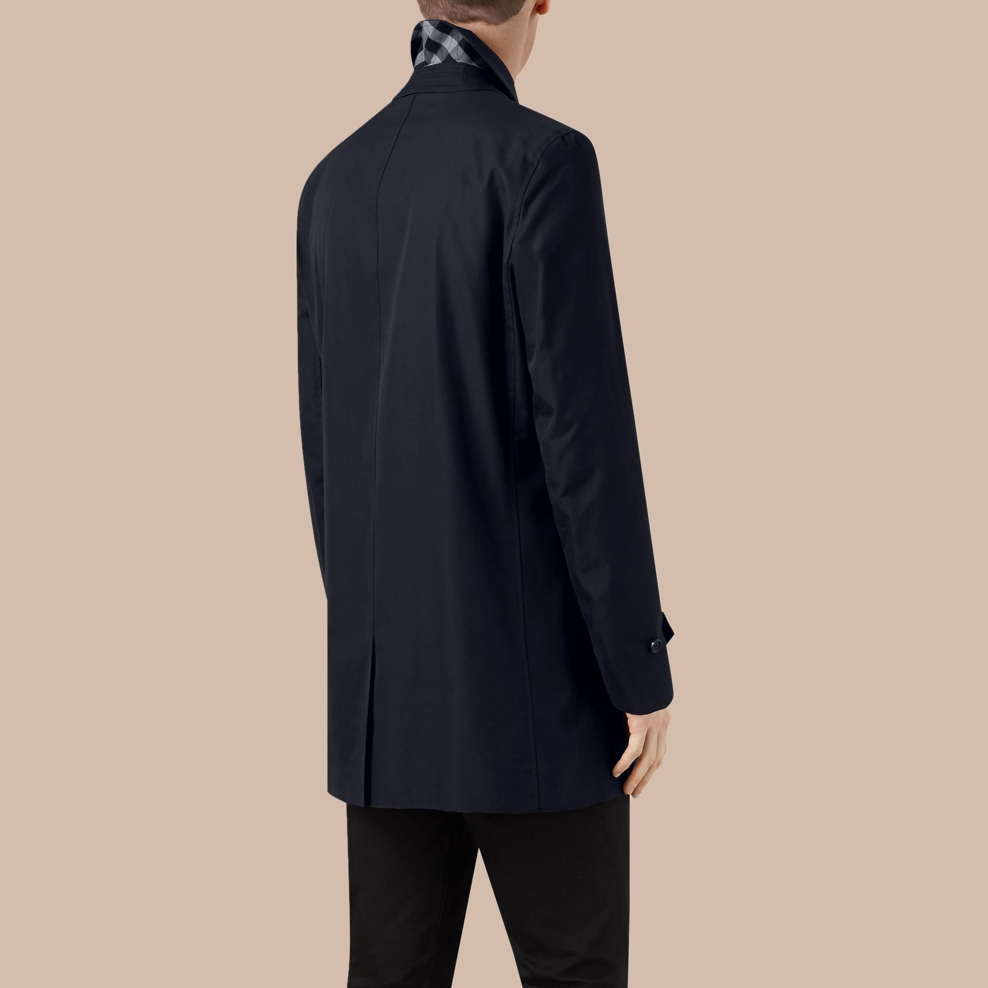 Navy Cotton Gabardine Car Coat Navy - gallery image 3