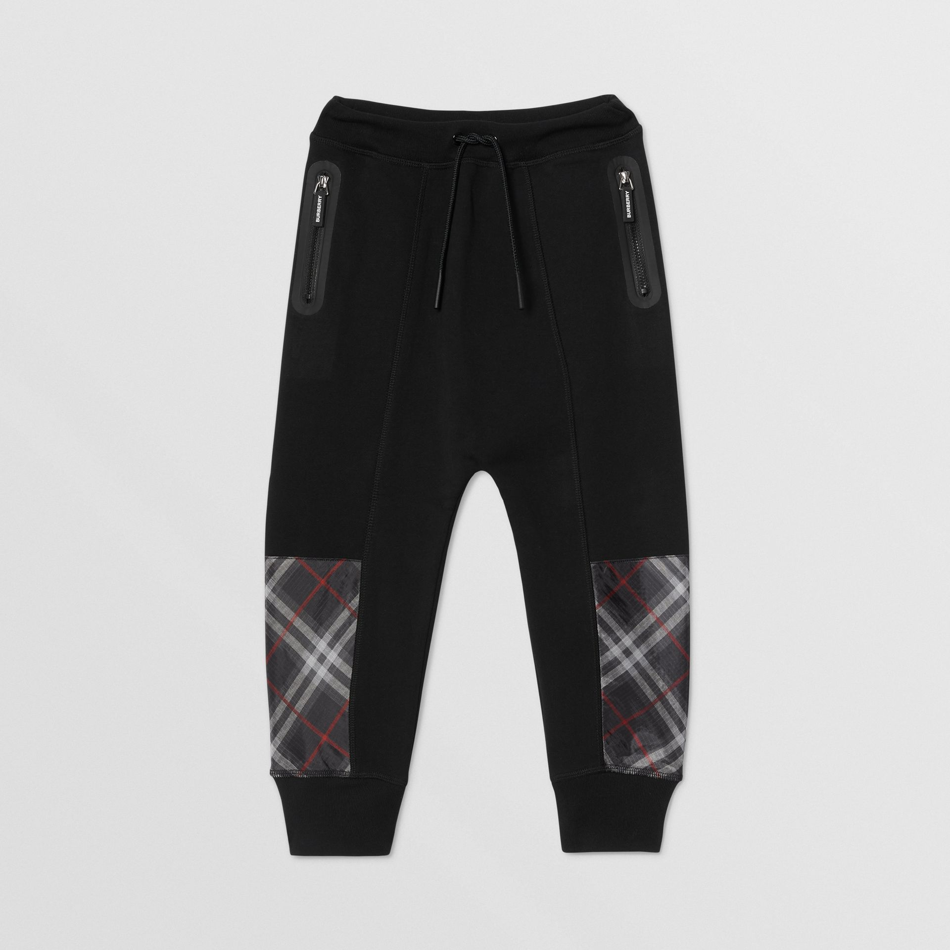 Vintage Check Panel Cotton Trackpants in Black - Boy | Burberry - gallery image 0