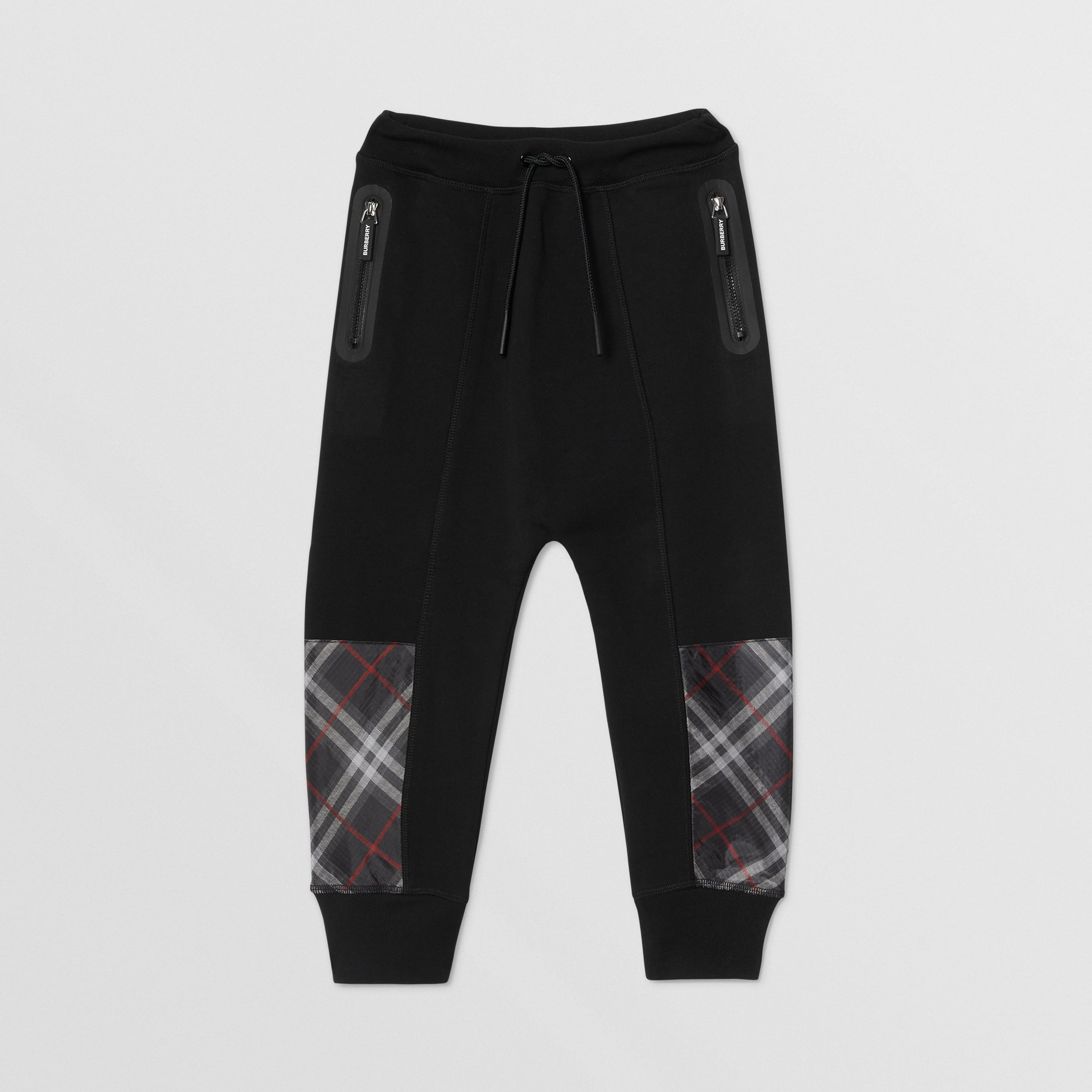 Vintage Check Panel Cotton Trackpants in Black | Burberry - 1
