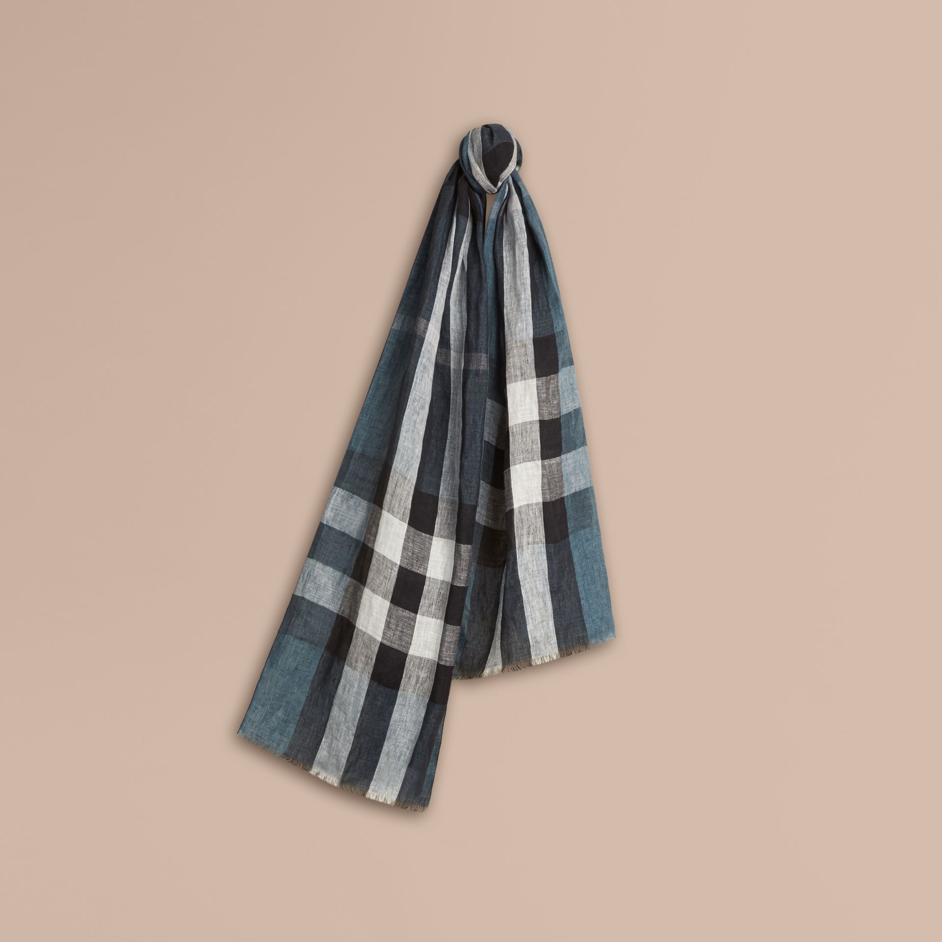 Pewter blue Check Crinkled Linen Scarf Pewter Blue - gallery image 1