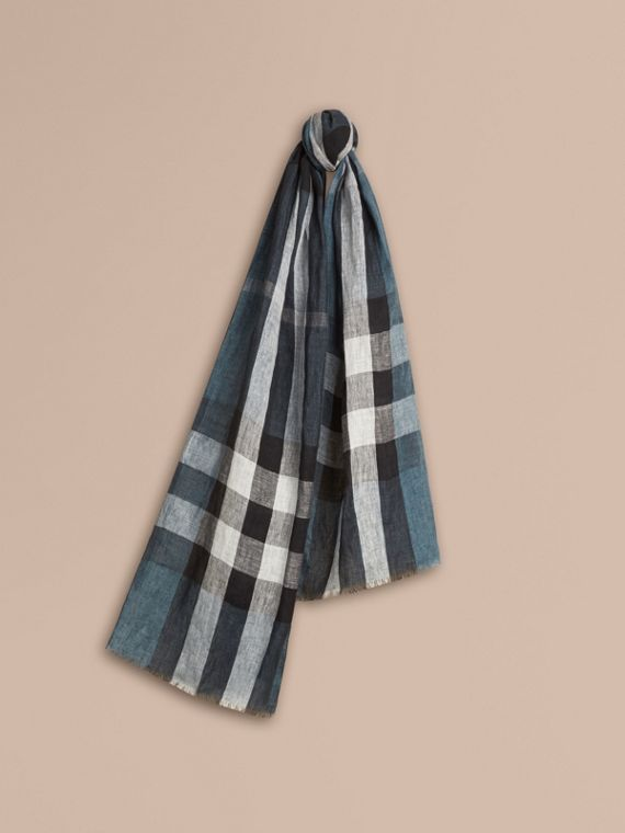 Check Crinkled Linen Scarf Pewter Blue
