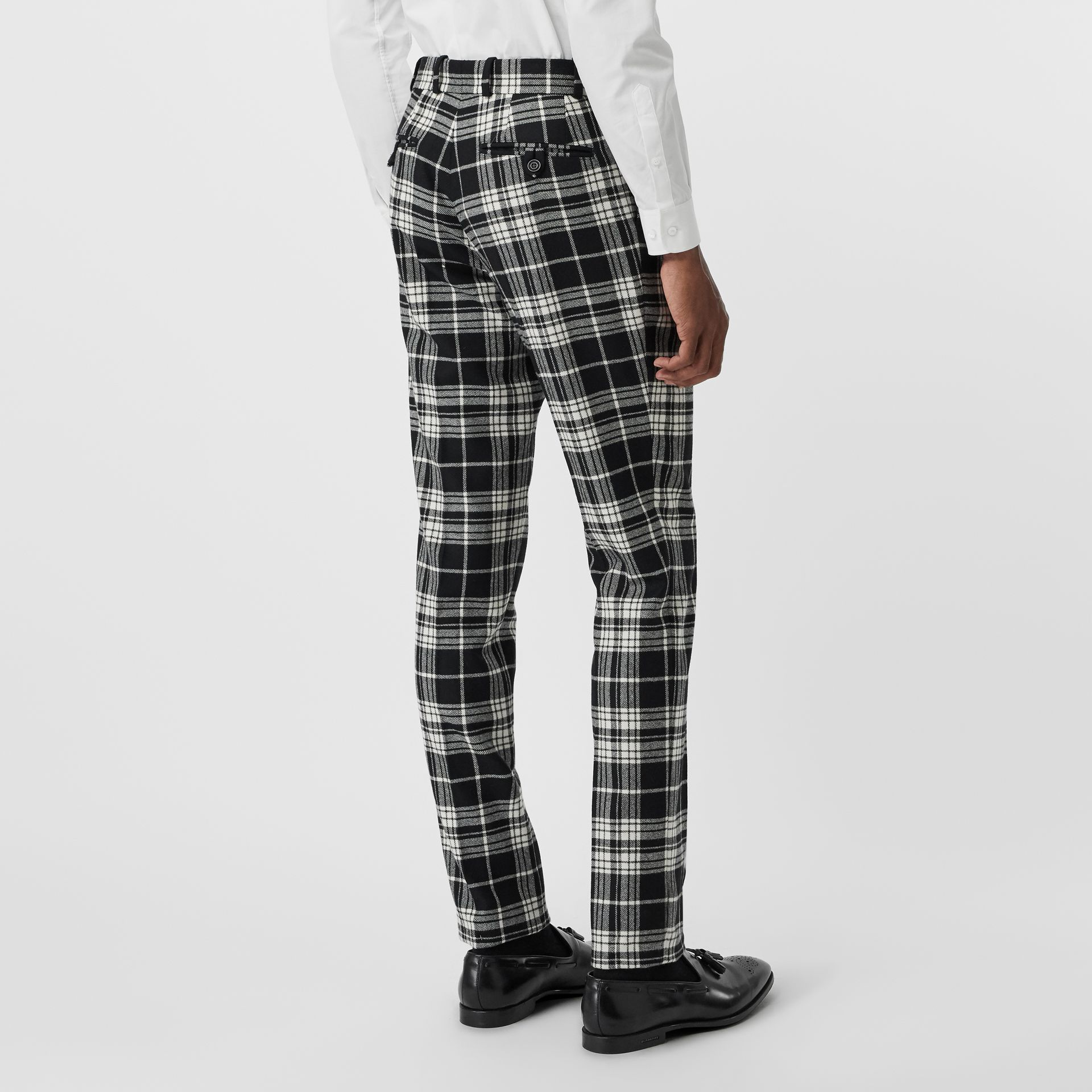 Slim Fit Tartan Wool Cashmere Tailored Trousers in Black - Men | Burberry - gallery image 2