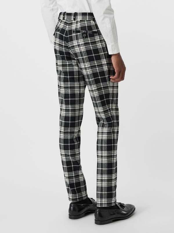 Slim Fit Tartan Wool Cashmere Tailored Trousers in Black - Men | Burberry - cell image 2