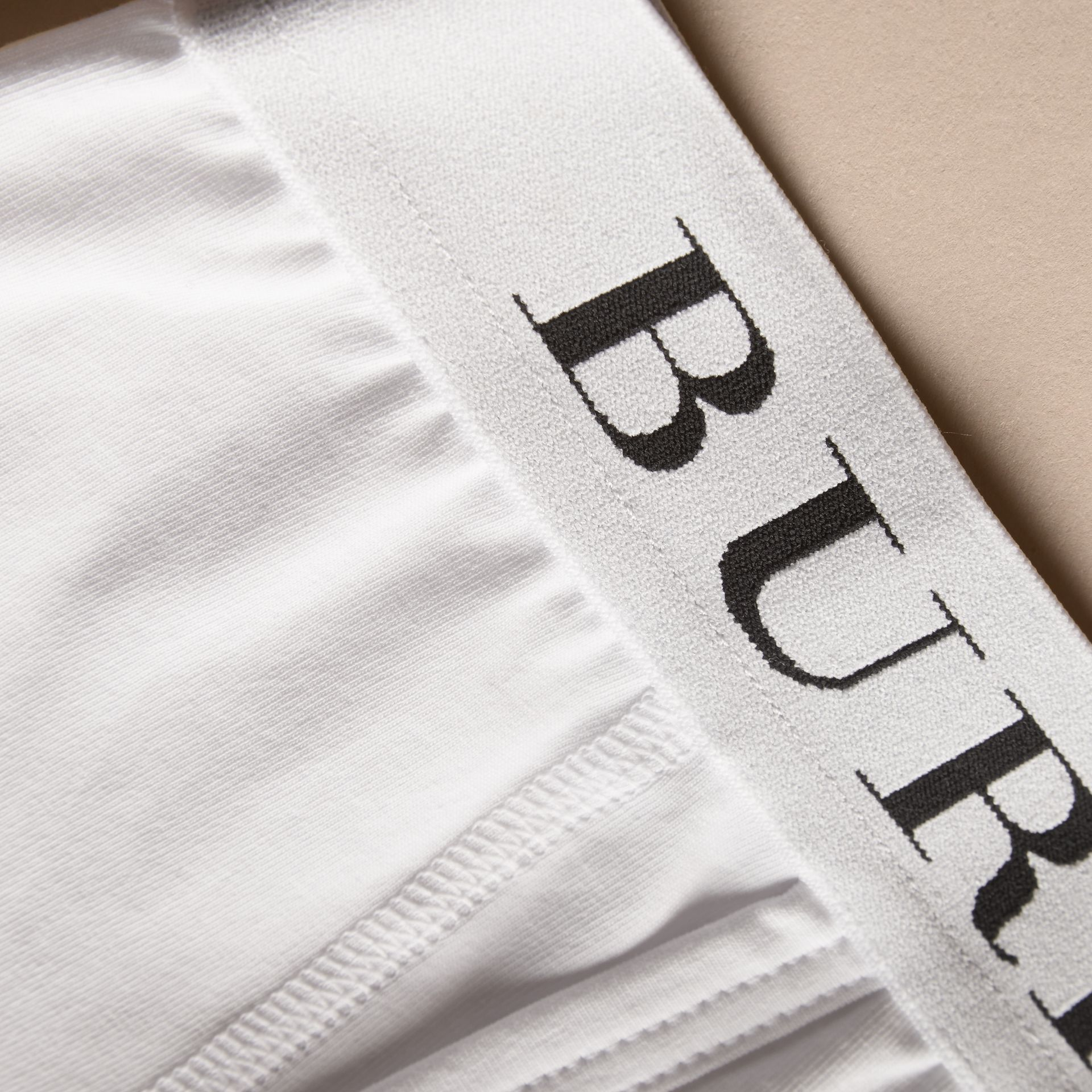 Stretch Cotton Boxer Shorts in White - Men | Burberry - gallery image 2