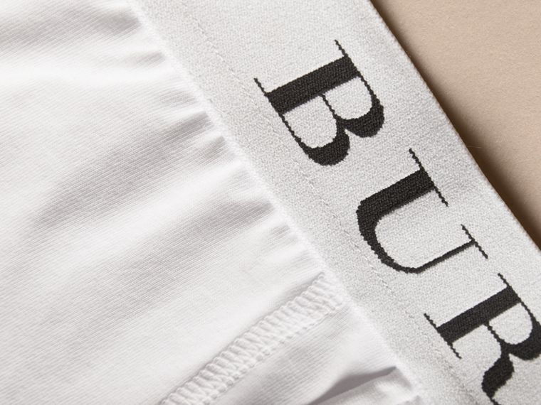 Stretch Cotton Boxer Shorts in White - Men | Burberry Hong Kong - cell image 1