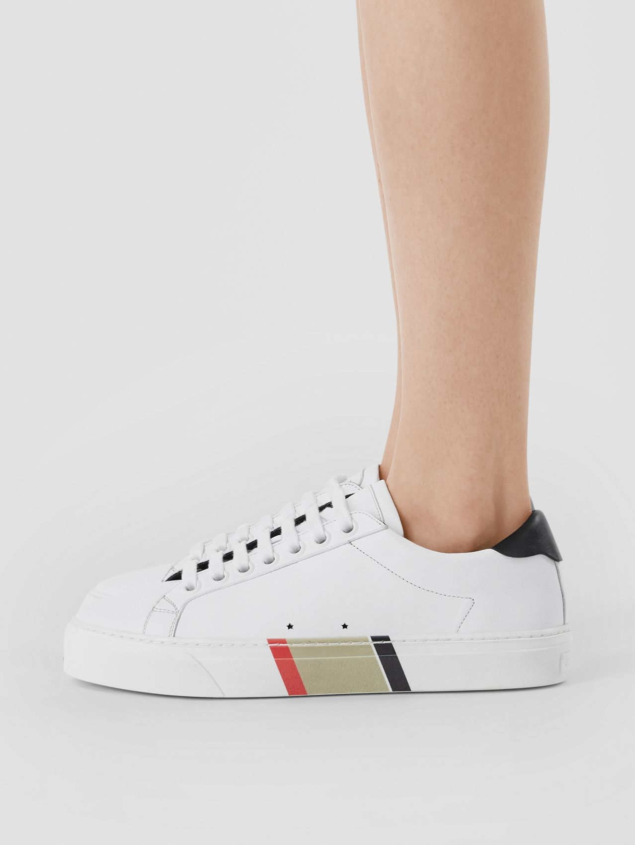 Bio-based Sole Stripe Print Leather Sneakers in Optic White