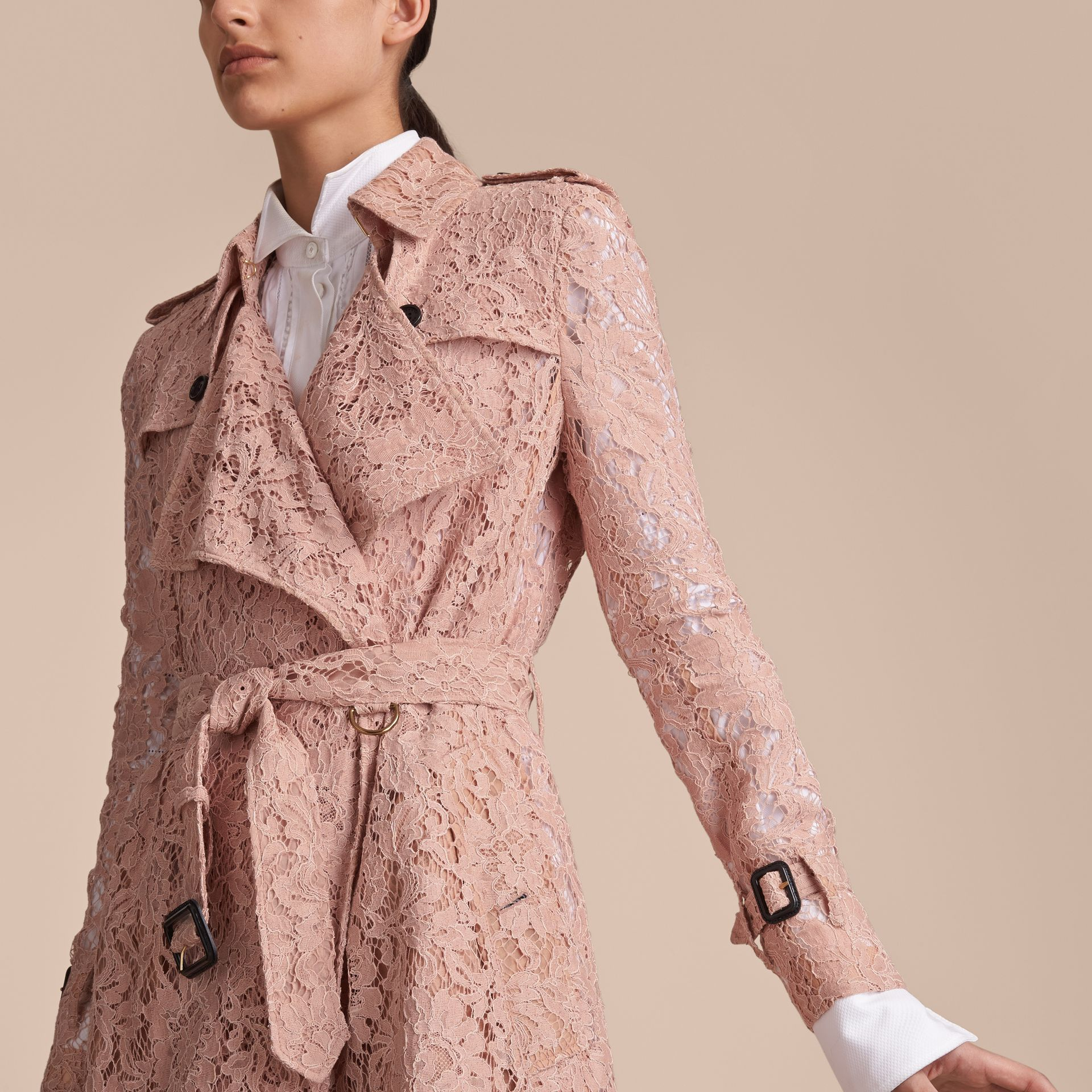 Macramé Lace Trench Coat Pale Pink - gallery image 5