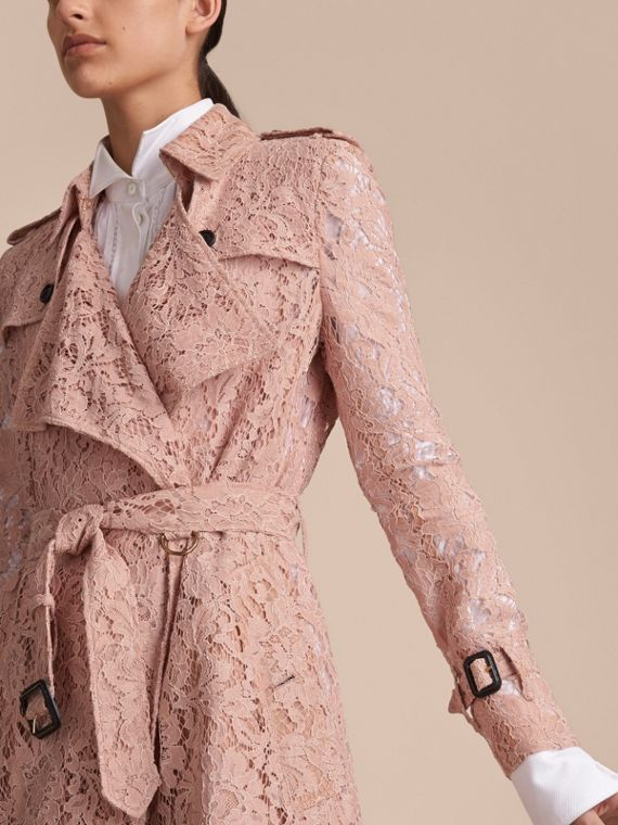 Macramé Lace Trench Coat Pale Pink - cell image 3