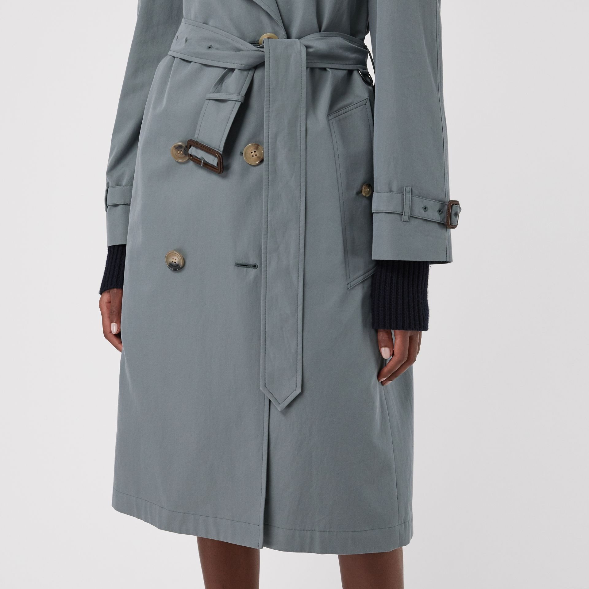 Wool-lined Tropical Gabardine Trench Coat in Dusty Blue - Women | Burberry Canada - gallery image 4