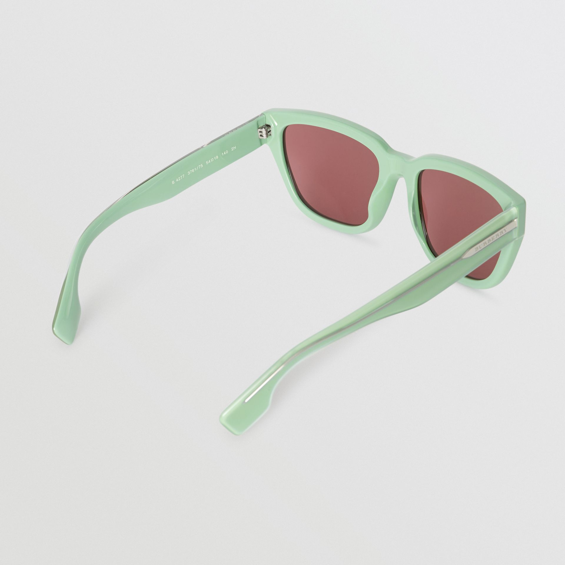 Square Frame Sunglasses in Mint Green - Women | Burberry - gallery image 4