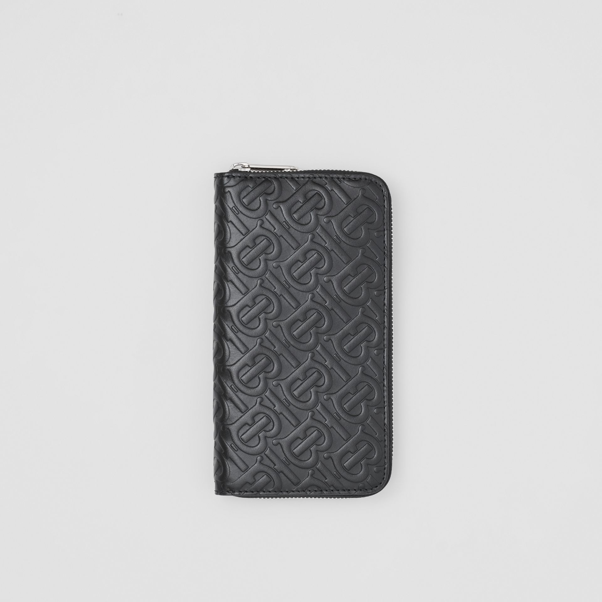 Monogram Leather Ziparound Wallet in Black - Men | Burberry - gallery image 0
