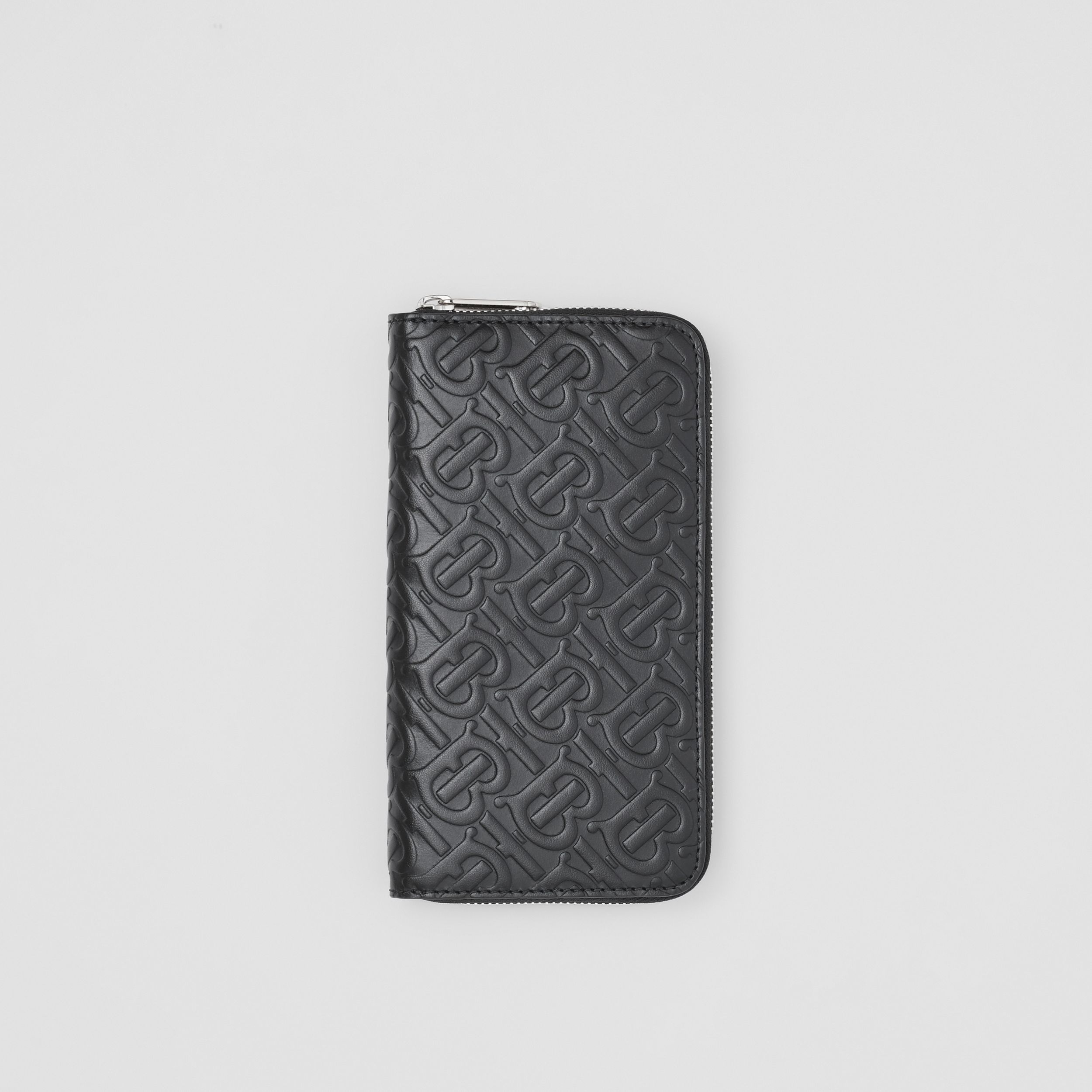 Monogram Leather Ziparound Wallet in Black - Men | Burberry - 1