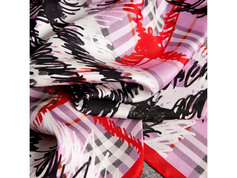 Scribble Check Silk Square Scarf in Fuchsia Pink - Women | Burberry - cell image 1