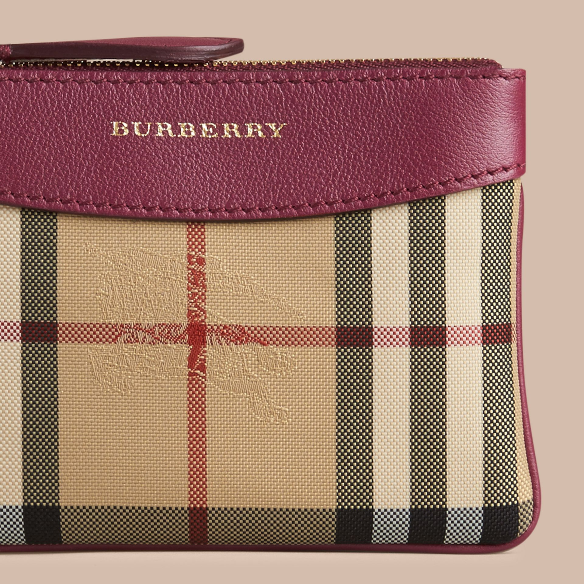 Dark plum Horseferry Check and Leather Pouch Dark Plum - gallery image 2