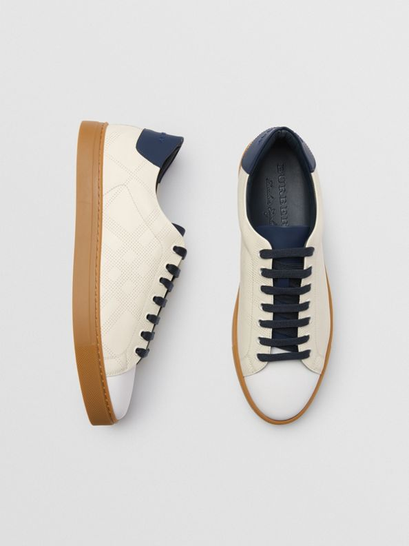 Perforated Check Leather Sneakers in Cream