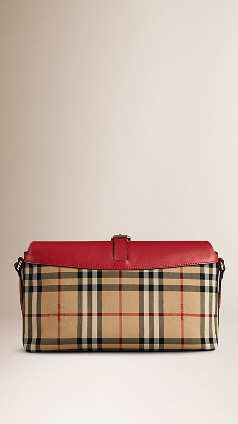 Honey/parade red Small Horseferry Check Clutch Bag - Image 3
