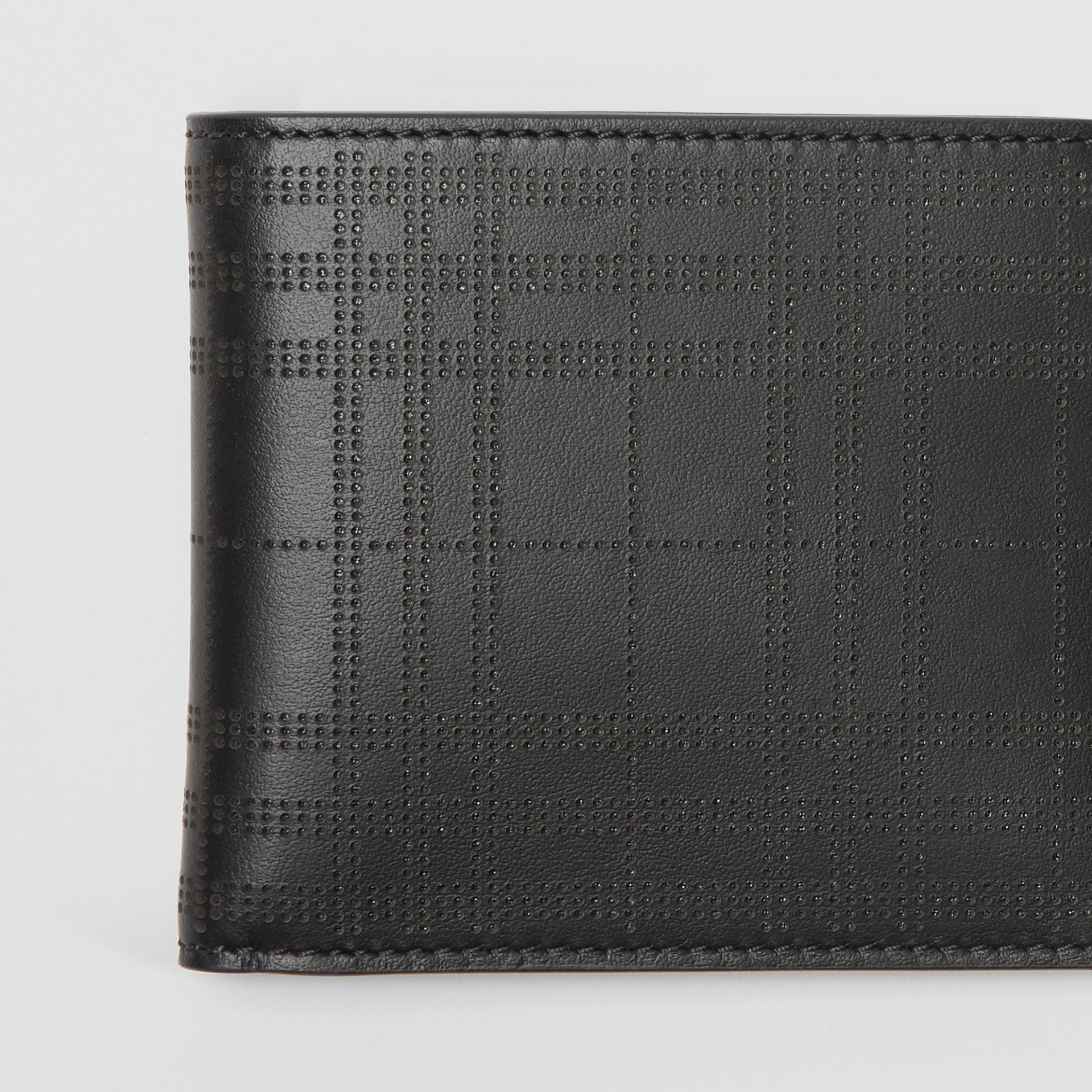 Perforated Check Leather International Bifold Wallet in Black - Men | Burberry Canada - gallery image 1