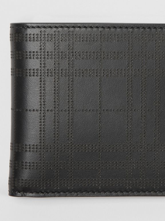 Perforated Check Leather International Bifold Wallet in Black - Men | Burberry Australia - cell image 1