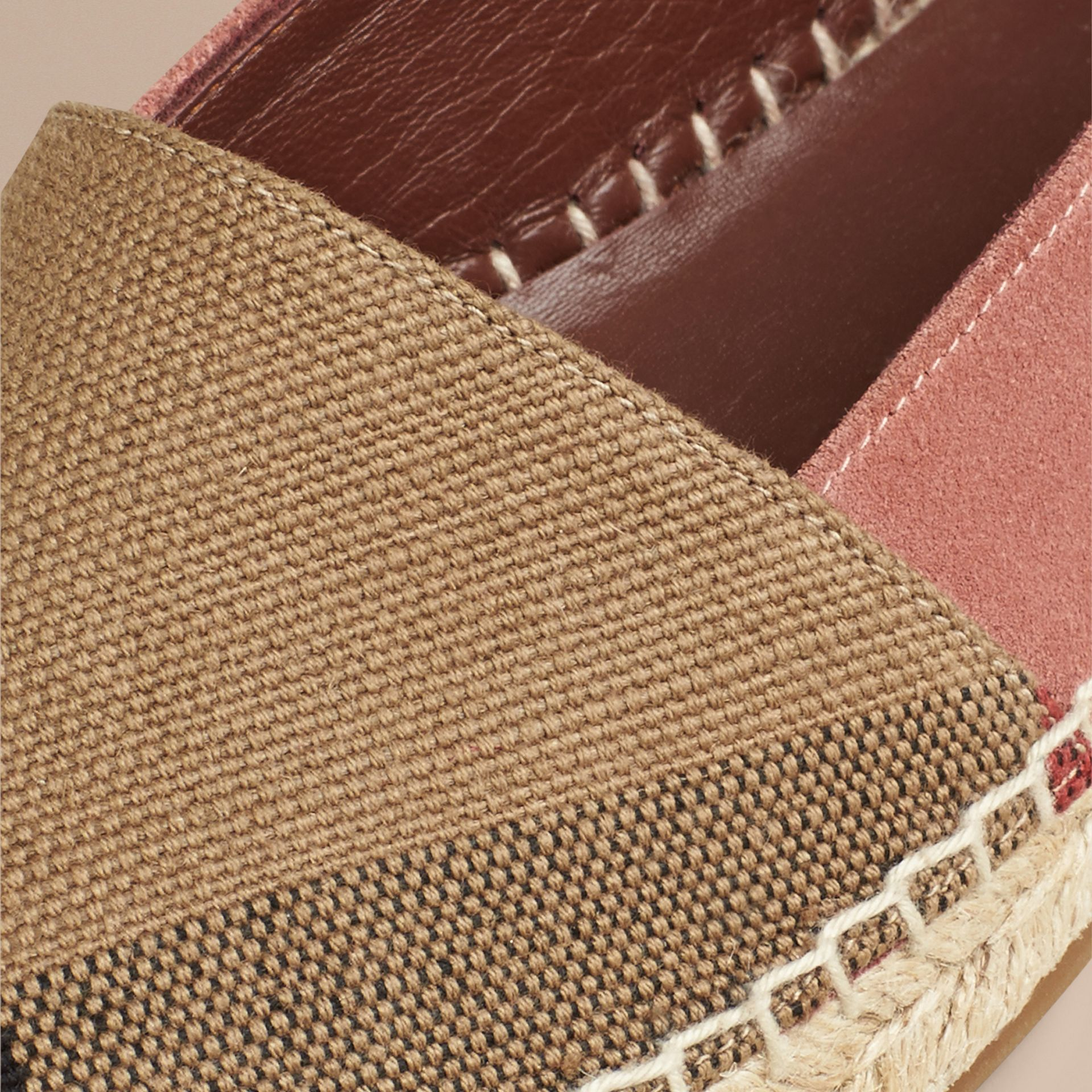 Pale russet Check Jute Cotton and Suede Espadrilles Pale Russet - gallery image 2