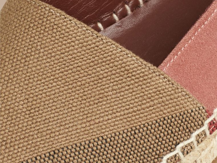 Pale russet Check Jute Cotton and Suede Espadrilles Pale Russet - cell image 1