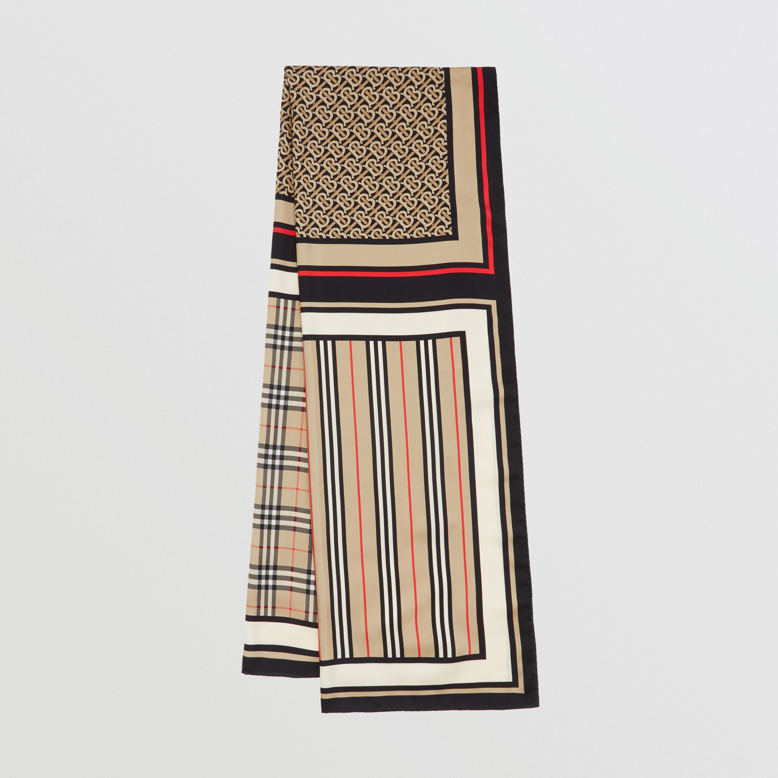 Monogram, Icon Stripe and Check Print Silk Scarf in Archive Beige | Burberry - 1
