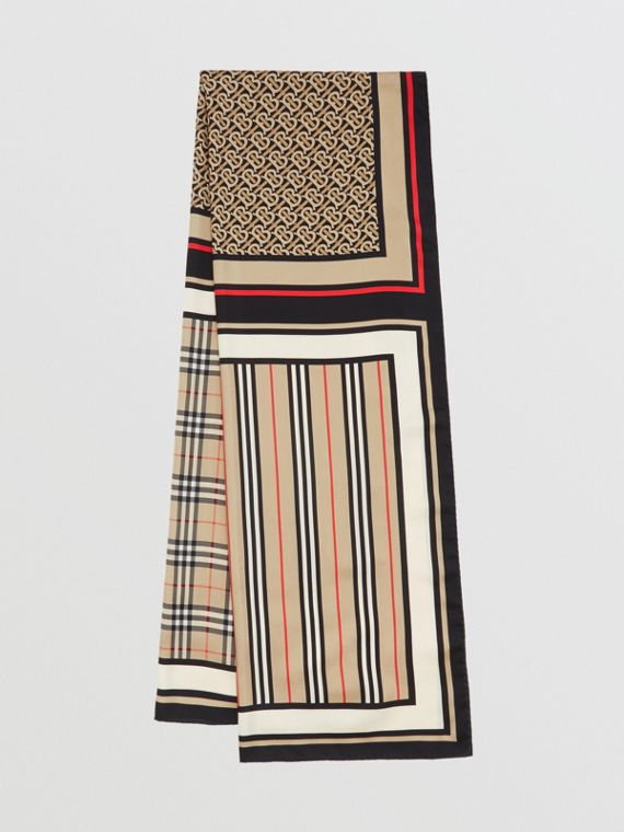 Monogram, Icon Stripe and Check Print Silk Scarf in Archive Beige