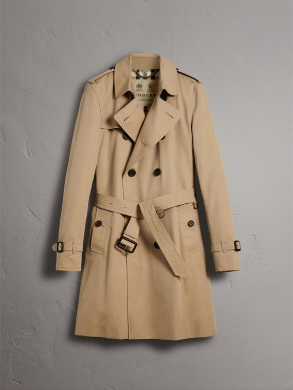 The Kensington – Long Trench Coat in Honey - Men | Burberry Australia - cell image 3