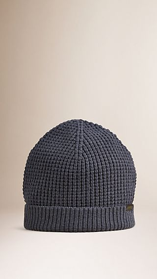 Cashmere Blend Waffle Knit Beanie