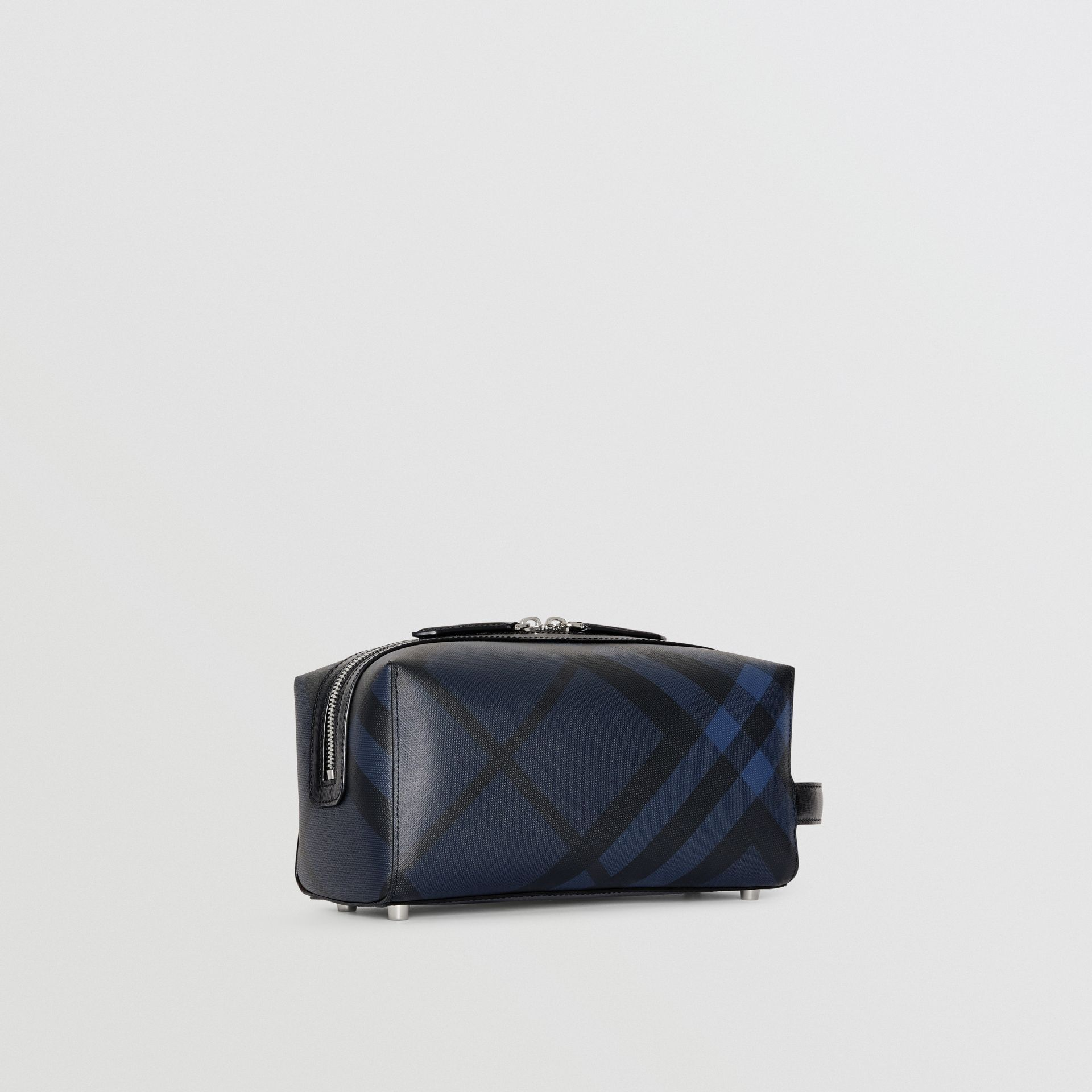 Trousse con pelle e motivo London check (Navy/nero) | Burberry - immagine della galleria 6