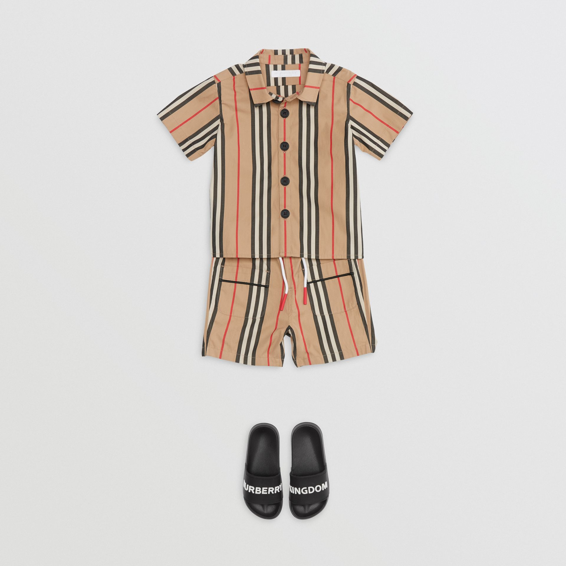 Short-sleeve Icon Stripe Cotton Shirt in Archive Beige - Children | Burberry - gallery image 2
