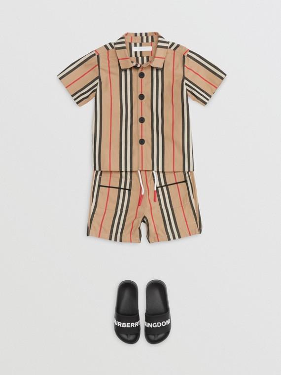 Kurzärmeliges Baumwollhemd mit Streifendetails (Vintage-beige)