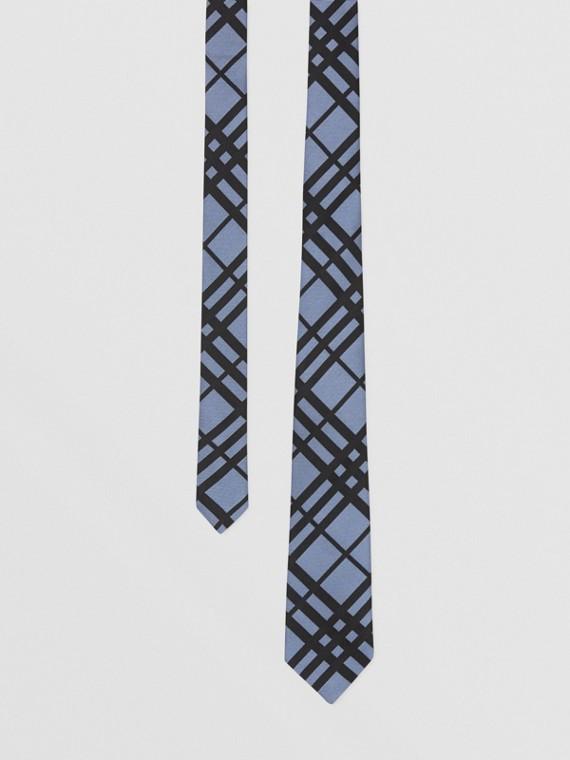 經典剪裁格紋絲質提花領帶 (粉筆藍)