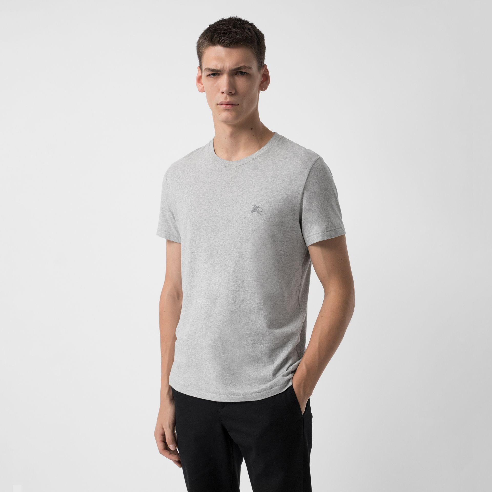 Cotton Jersey T-shirt in Pale Grey Melange - Men | Burberry Canada - gallery image 0