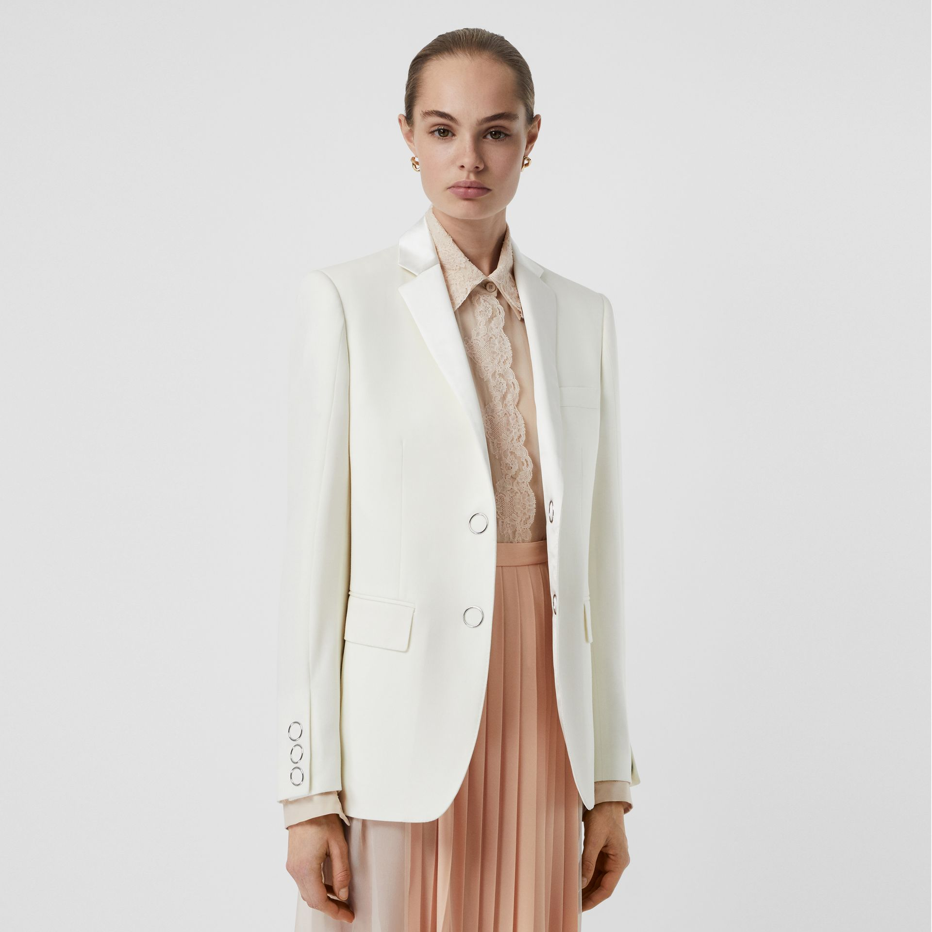 Silk Trim Press-stud Wool Tailored Jacket in Natural White - Women | Burberry - gallery image 5