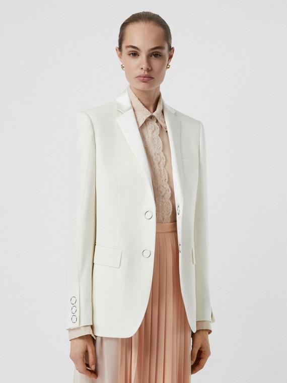Veste tailleur en laine à boutons pression avec soie (Blanc Naturel)