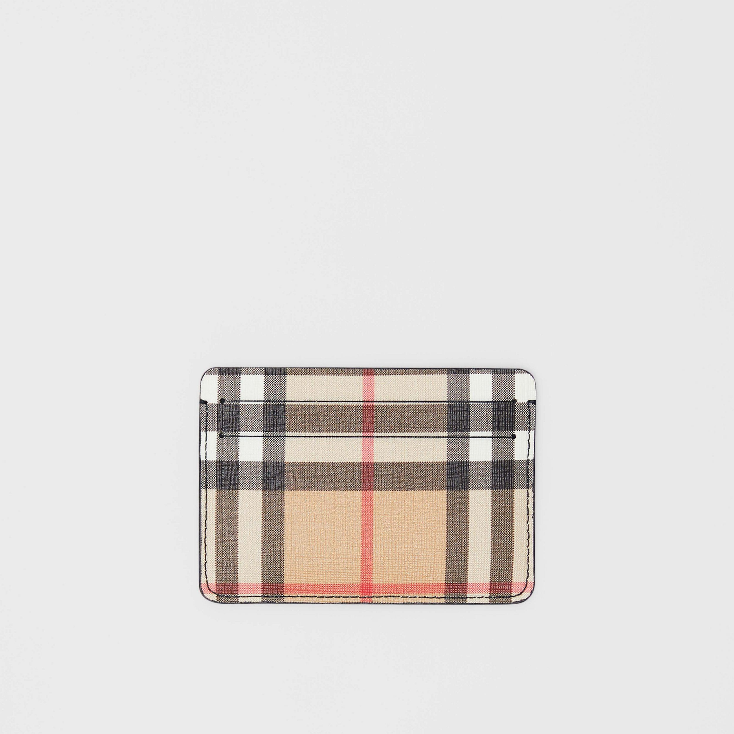 Porta carte di credito in e-canvas con motivo Vintage check (Nero) - Donna | Burberry - 1