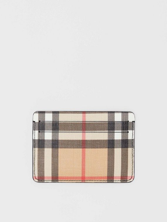 Vintage Check E-canvas Card Case in Black