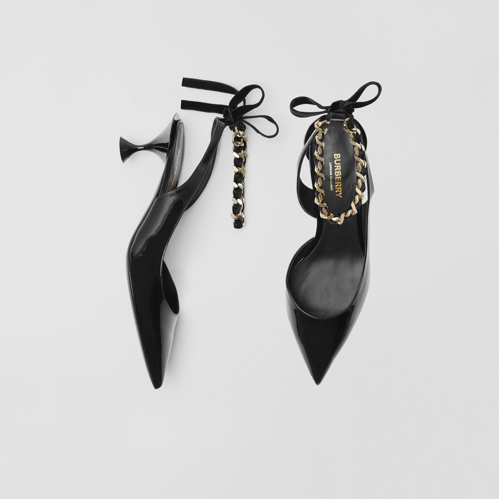 Chain Detail Leather Slingback Pumps in Black - Women | Burberry - gallery image 0